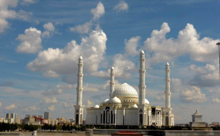 White Mosque in Astana with four towers kazakhstan travel