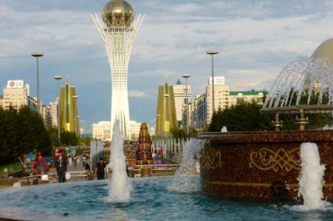 Astana Baiterek Tower with foundtains kazakhstan travel