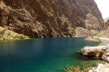 Gorgeous colors of Tajikistan lakes in good weather