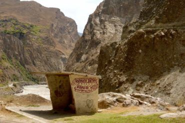 Bus stop on Pamir Highway travel tajikistan