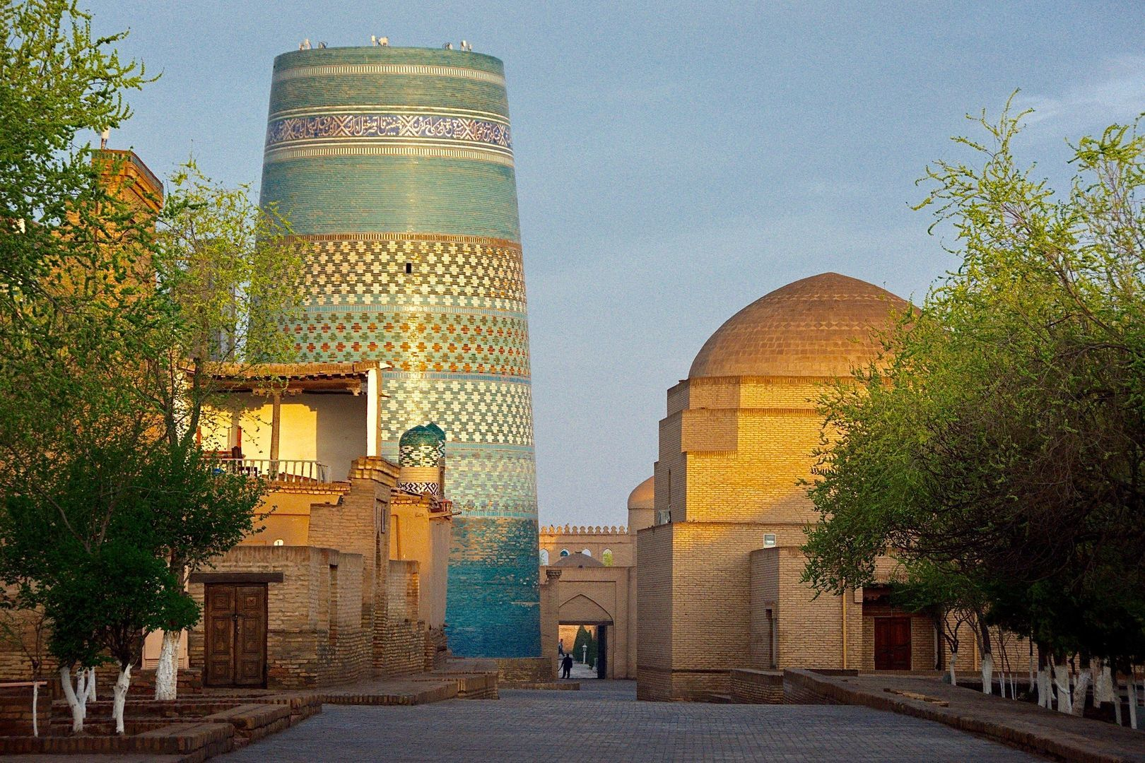Khiva City Tour, blue big minaret in Best of Central Asia Tour