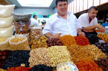 Dried Fruits Seller in Green Bazaar of Almaty