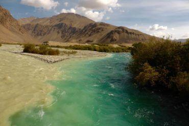 Conjuncton of two rivers - Tajikistan Pamir Highway Tour