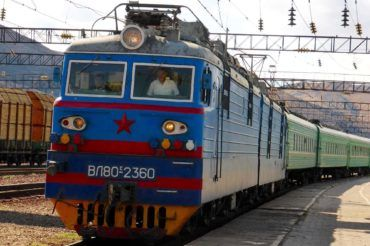 Soviet Kazakh Train going from Moscow to Kyrgyzstan through Kazakhstan travel