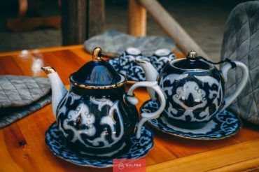Uzbekistan tea set, cotton pottery