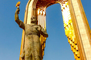 Somoni golden statue in Dushanbe