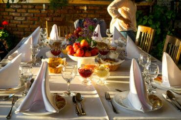 Dinner table in Kyrgyzstan