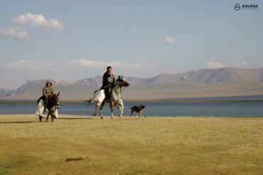 people on horses in Kyrgyzstan