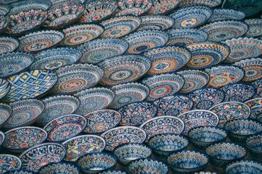 glazed blue traditional pottery