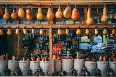 Spices stored in pumkins in Uzbek bazaars