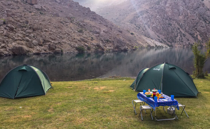 Camping and trekking with tents in Tajikistan