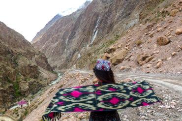 girl in Tajik hat