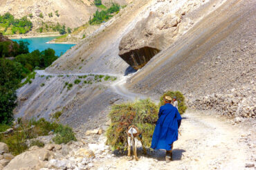 People in Tajikistan-old men with donkey