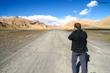 tourist taking picture in the Pamirs