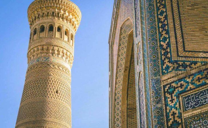 Uzbekistan tour in Bukhara and visiting of minaret