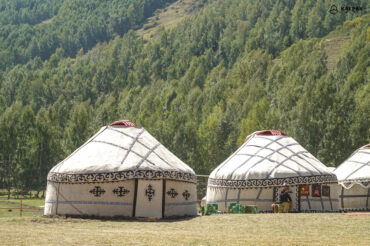 yurts with traditonal decoration