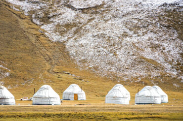yurts in snowy pasture at Song Kul