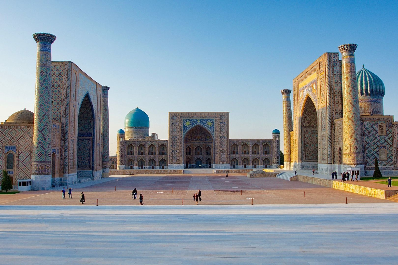 three madrasas or religious schools in Registan square of Samarkand