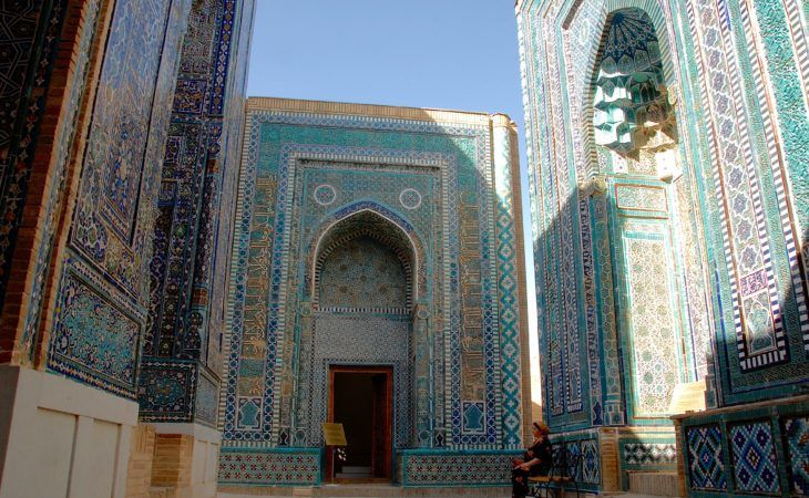 blue tiled architecture of Samarkand on the Central Asian Silk Road Tours