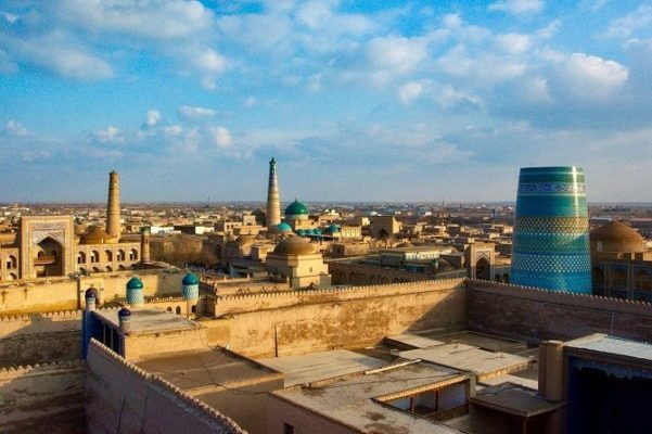 Panorama of Khiva with three minarets during Central Asia Tour