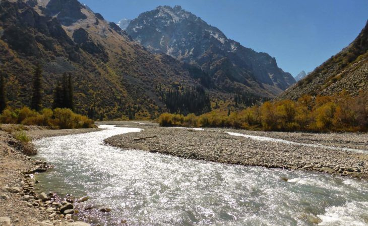 river in Ala-Archa national park in Central Asia Tour