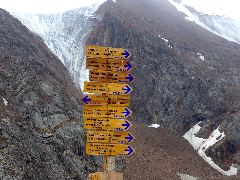 Sign post at shymbulak kazakhstan, switzerland is 5000 km away
