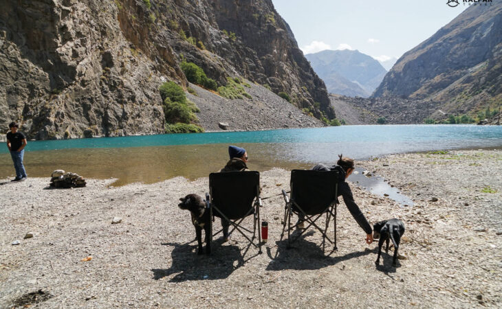 Camping people in Tajikistan