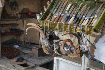 knives on display in Istaravshan, Tajikistan