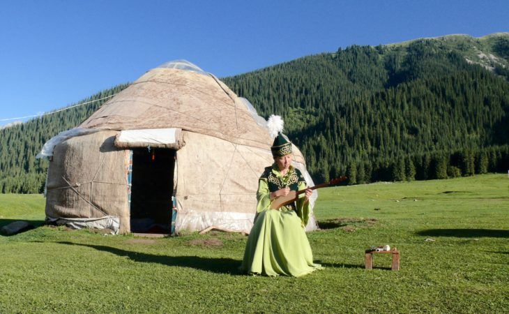Best of Central Asia Tour: Kyrgyz girl singing in front of the yurt