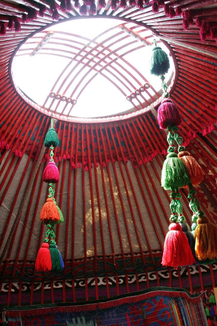 decorated roof of the yurt