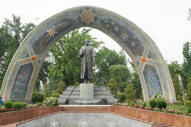 Dushanbe's Rudaki statue in park