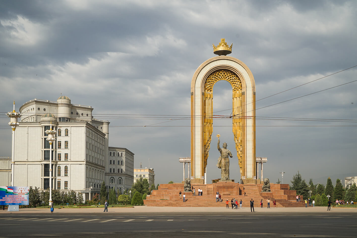 Dushanbe city center with golden statue of Ismail Somoni