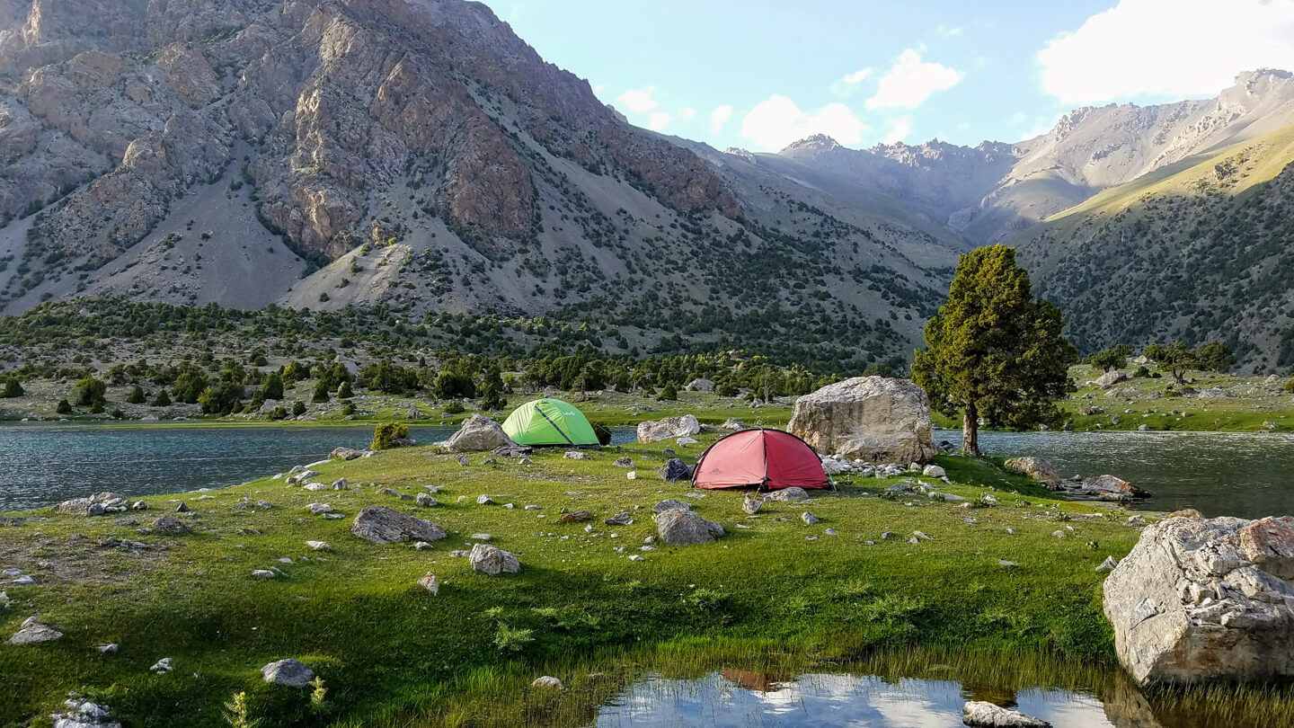 Camping tents in Fan mountains in Tajikistan