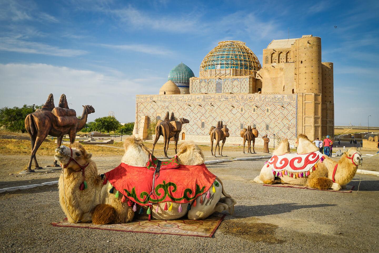 Turkestan mausoleum with camels