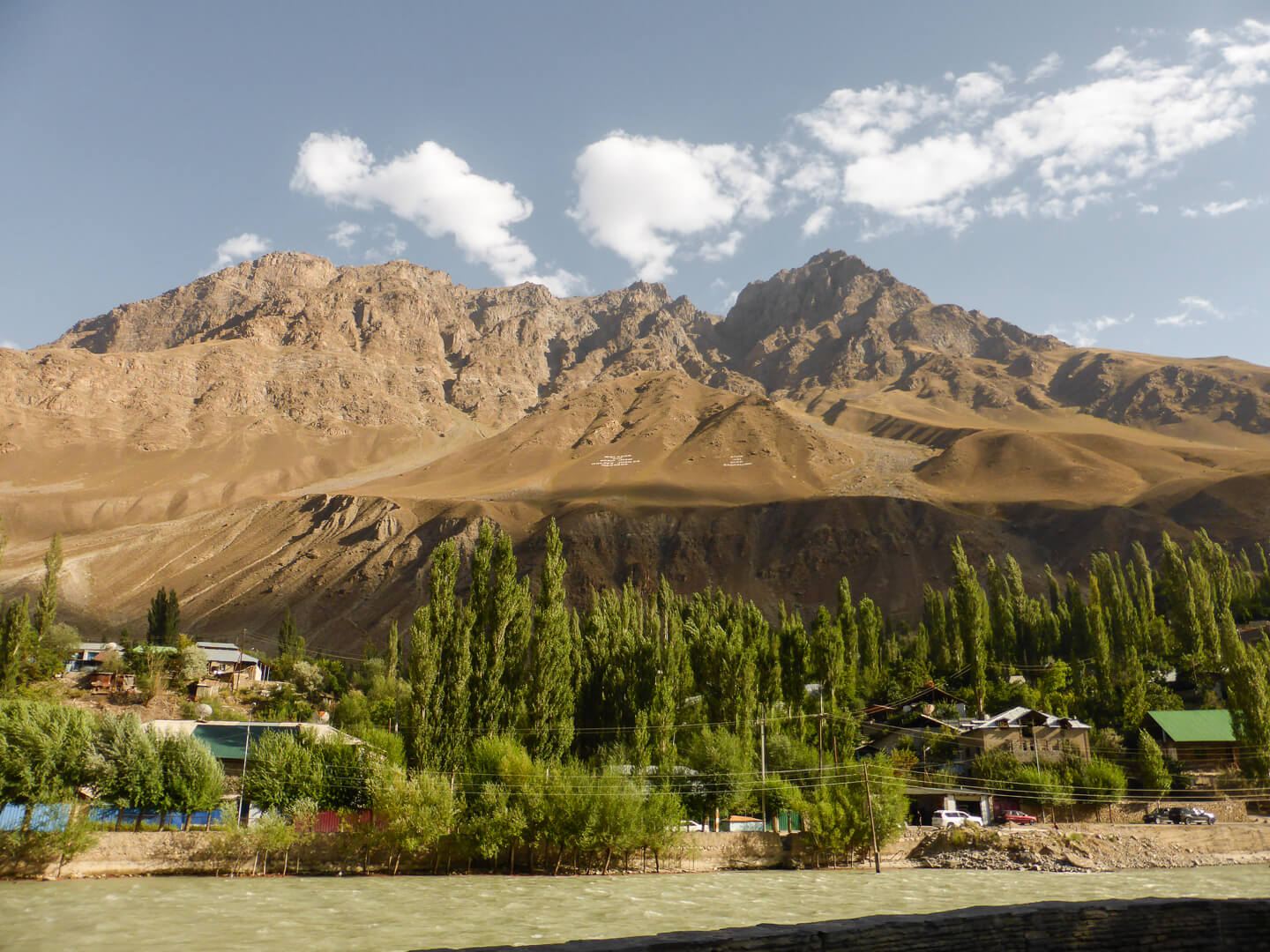 Khorog city view with Pamir mountains