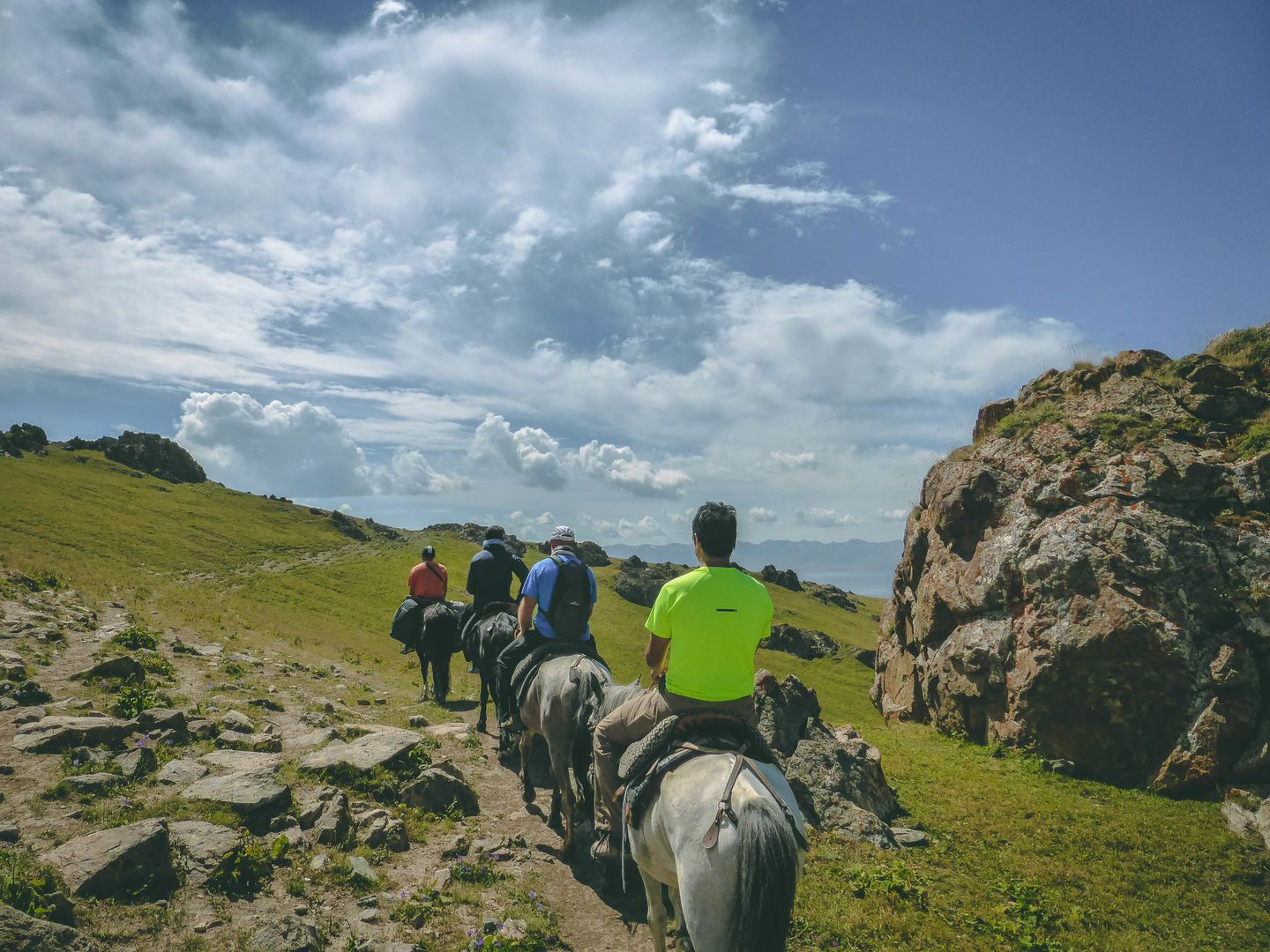 horse riding at Song Kul lake
