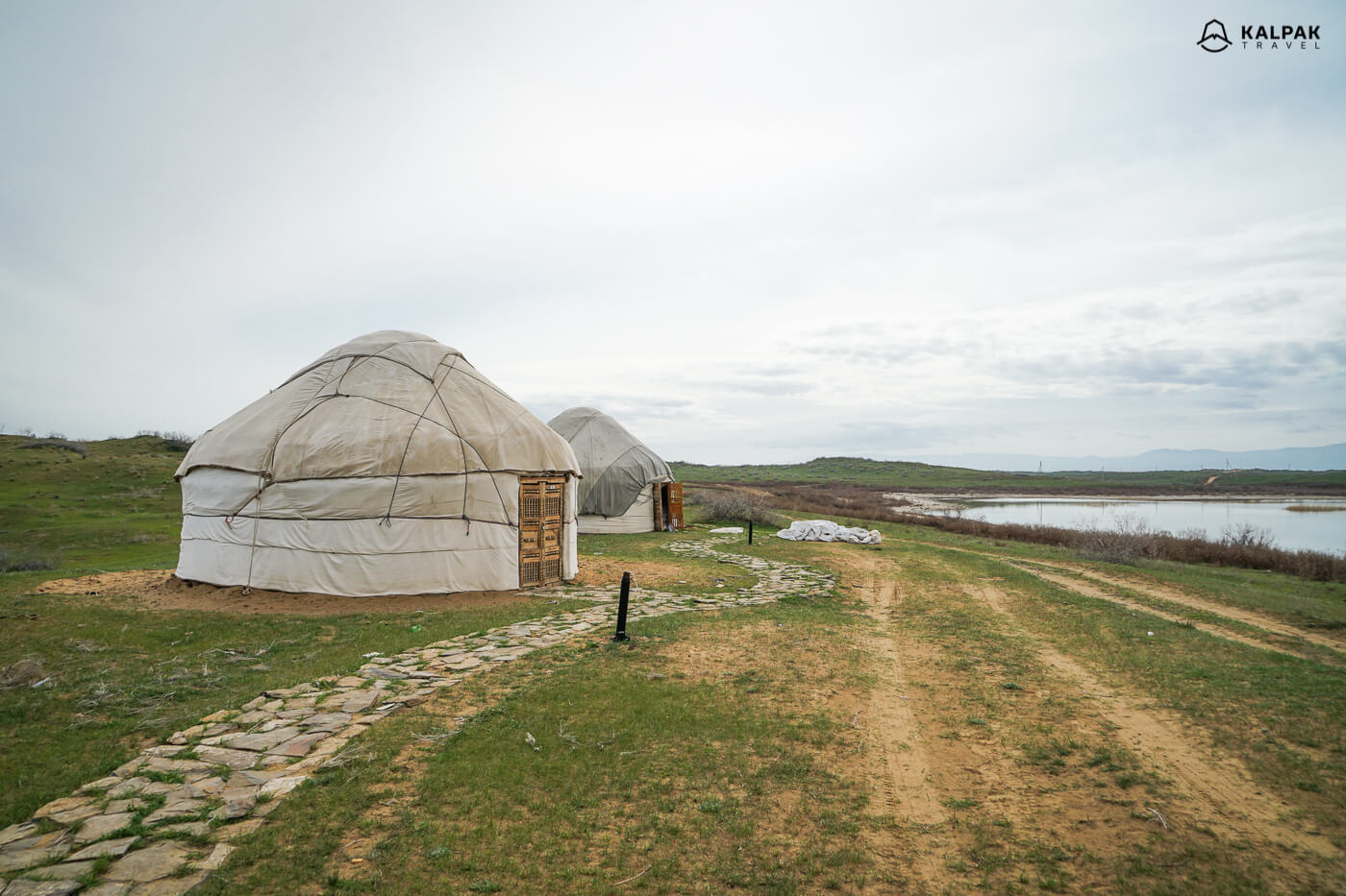 Aidarkul lake with yurts in Uzbeksitan