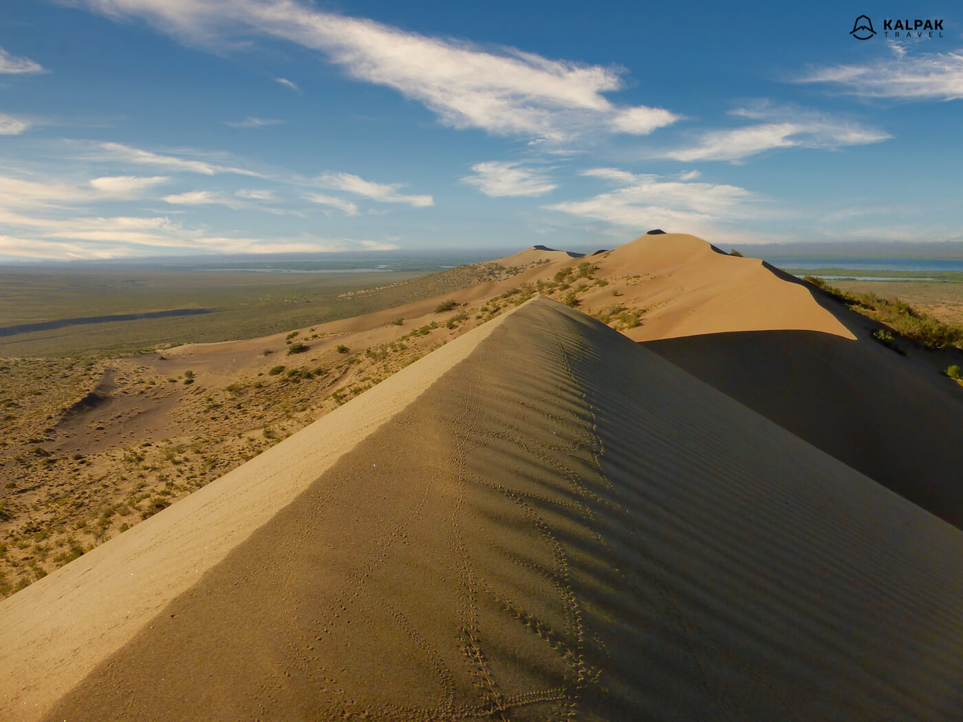 Singing dunes in national park in Kazakhstan