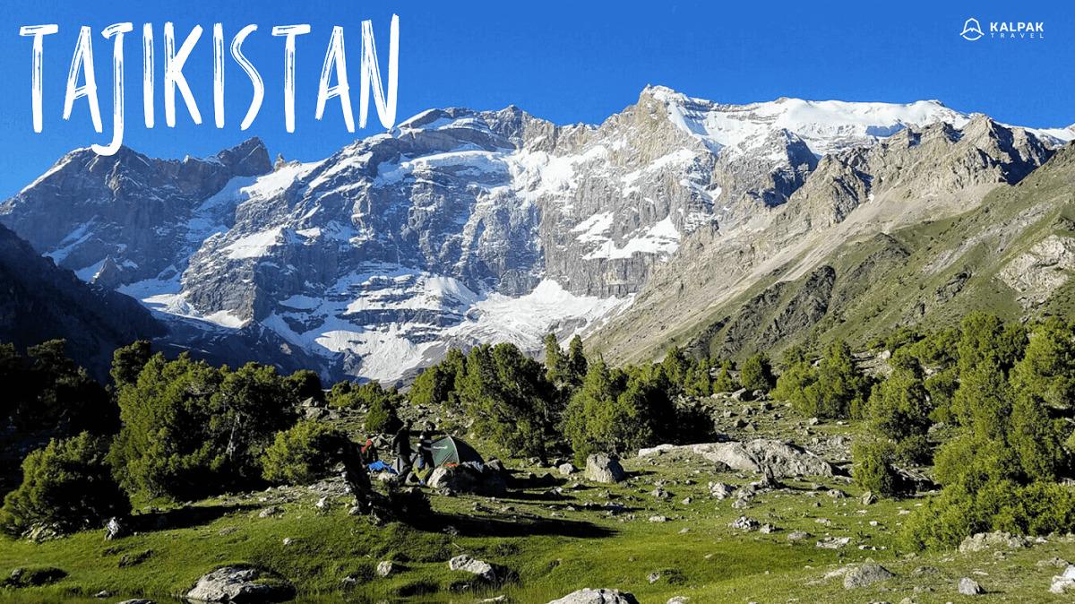 Tajikistan written on mountain landscape