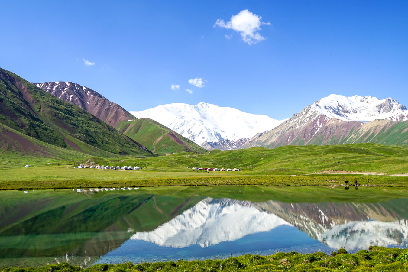 Tulparkul lake with yurts in Kyrgyzstan