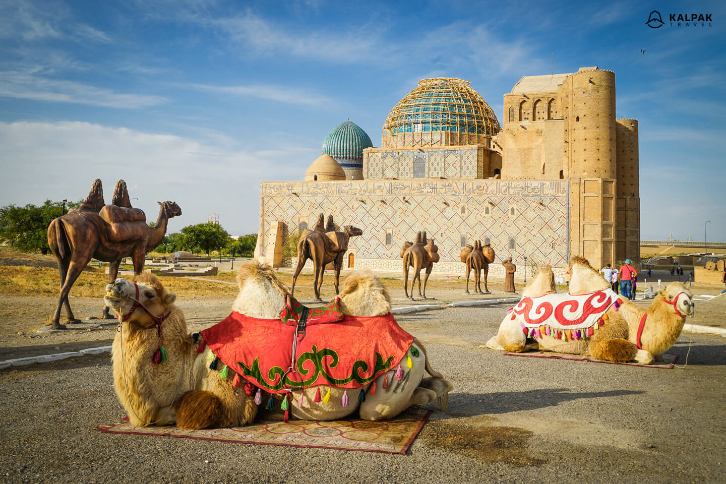 Turkistan mausoleum with camels like in Silk Road times