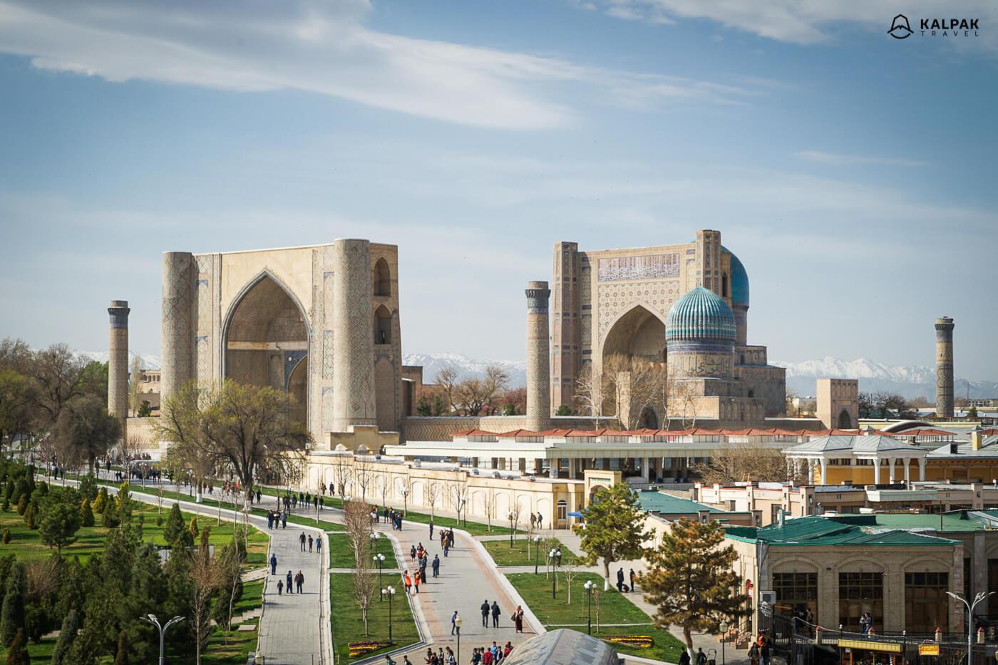 Samarkand city view with Bibi Khanum mosque in Uzbekistan