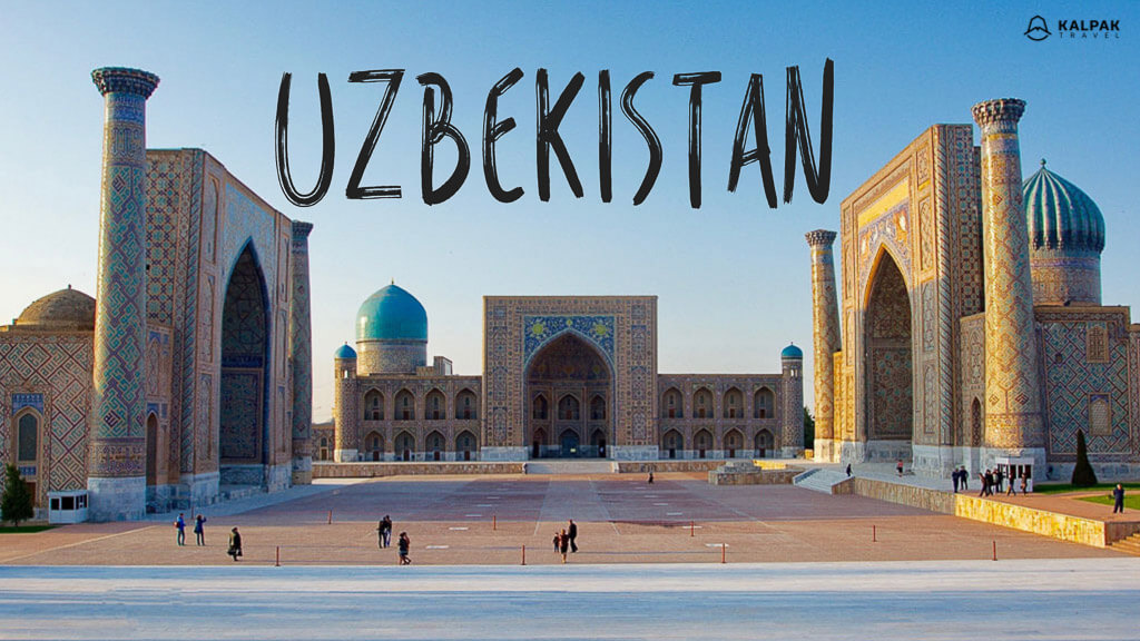 Uzbekistan written on photo of Registan place