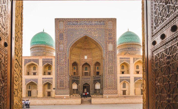 Mosque - Bukhara near the big tower minaret Kalyan