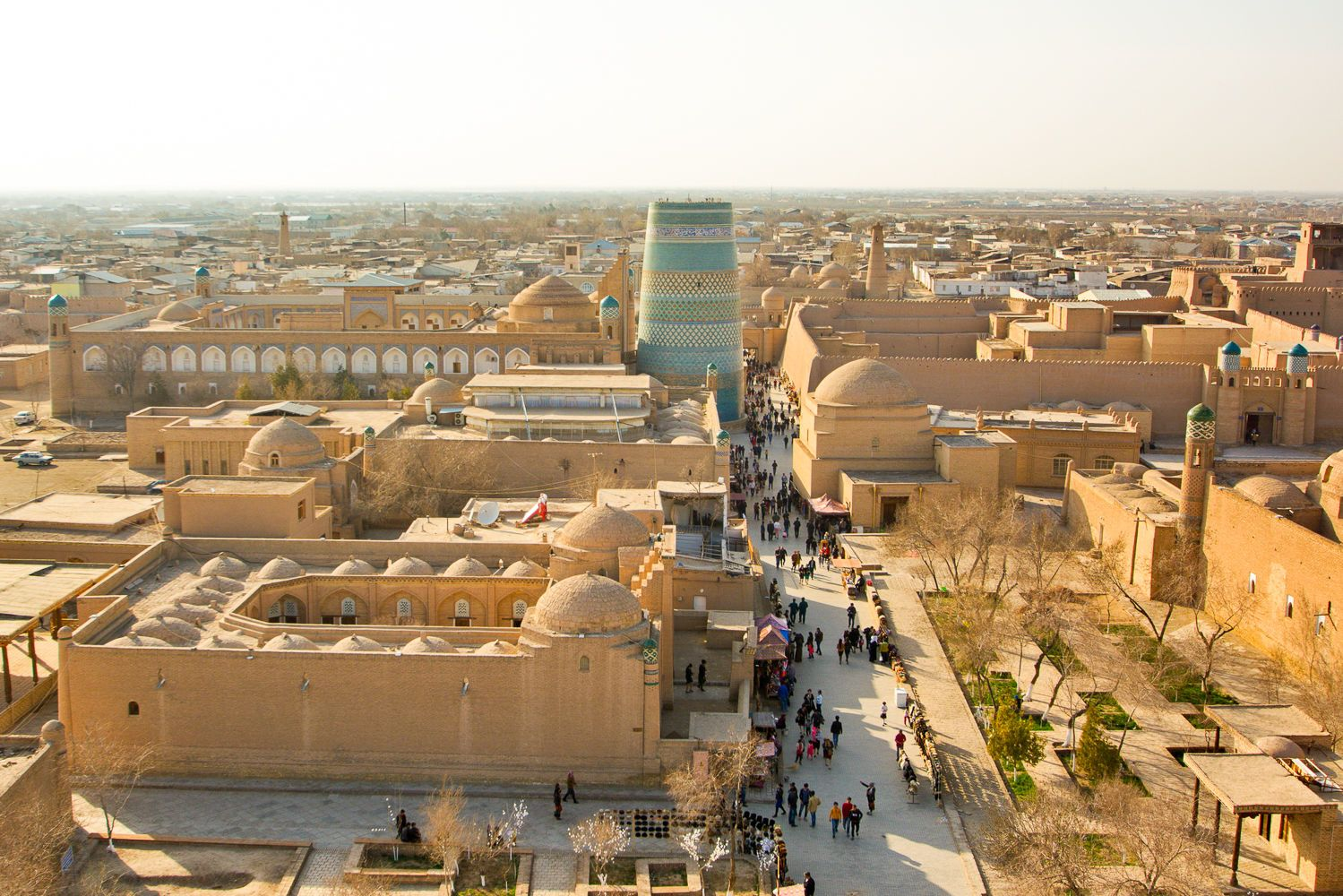 Overview of the itchan Kala or inner part of the city in Khiva, Uzbekistan Travel