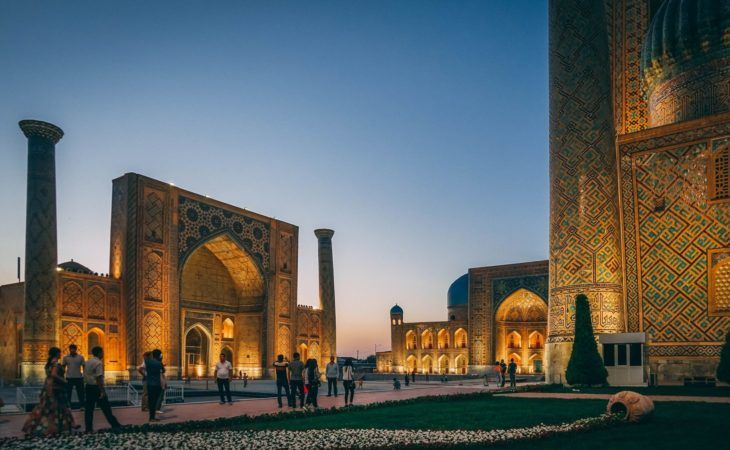 The Registan Ensemble in Samarkand, Uzbekistan, at night