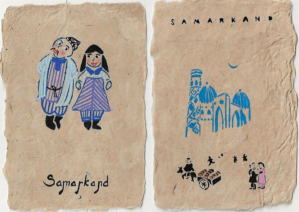 Samarkand paper post cards uzbekistan travel