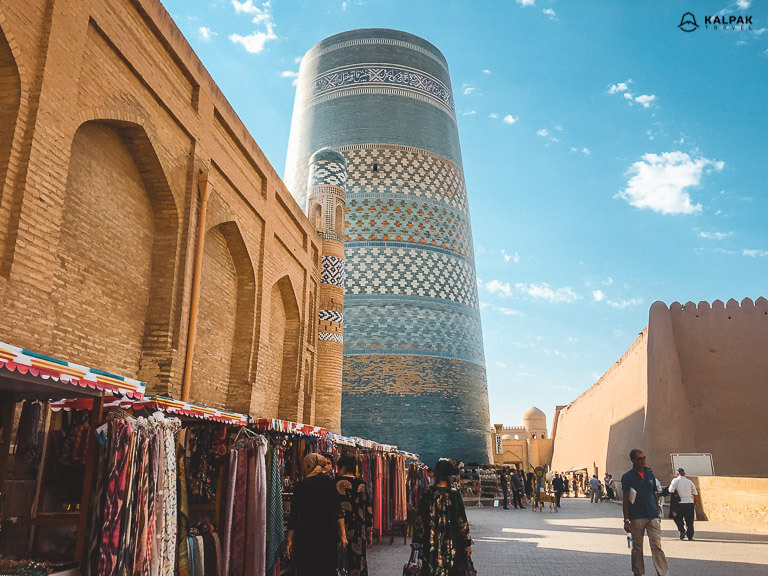 Khiva's famous blue minaret known as Kalta Minor