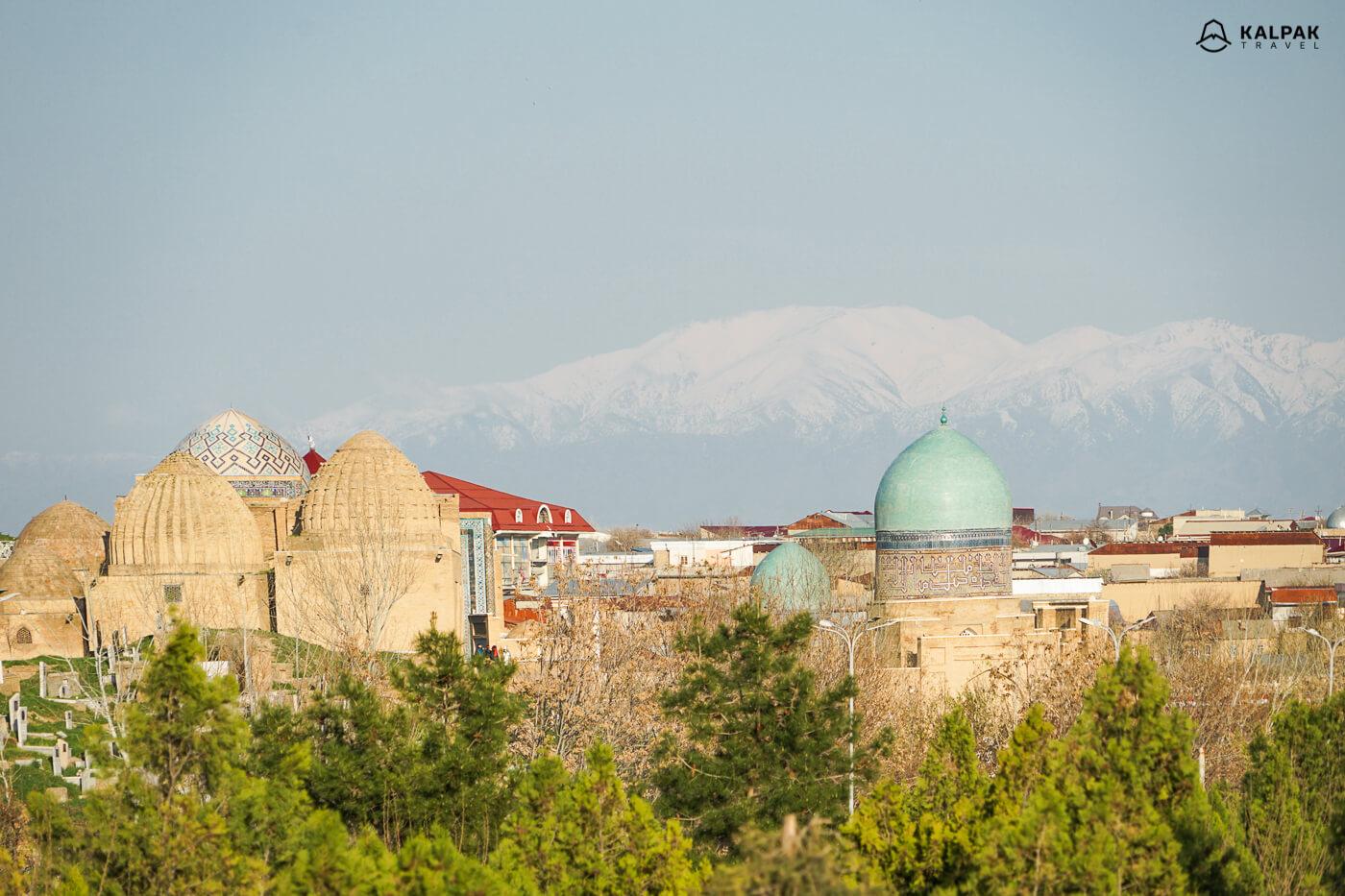 Shahizinda and Afrosiyob view in Samarkand