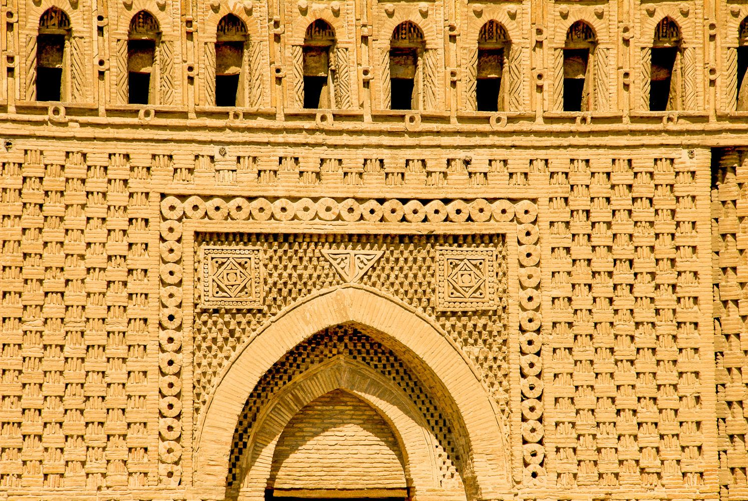 detailed brickwork on samanid mausoleum in Bukhara, Uzbekistan travel